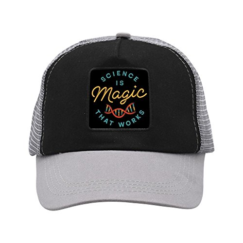 - Solid color mood Science is Magic,Adjustable Printing Summer Snapback Unisex Adult Gray Mesh Hats
