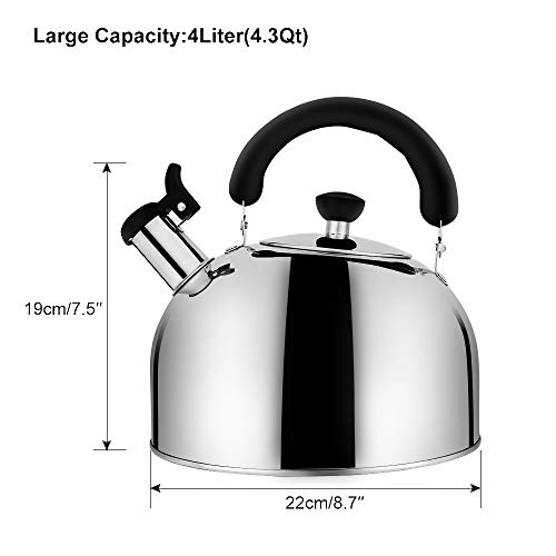 Stainless Steel Whistling Tea Kettle Tea Pot, Tea Kettles Stovetop 4.3Qt Large Capacity, Capsule Base Tea Pots for Stove Top Silver Tone by Ecpurchase