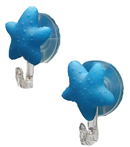 Set of 4 Cute Cartoon Sucker Hook Starfish Hook Blue