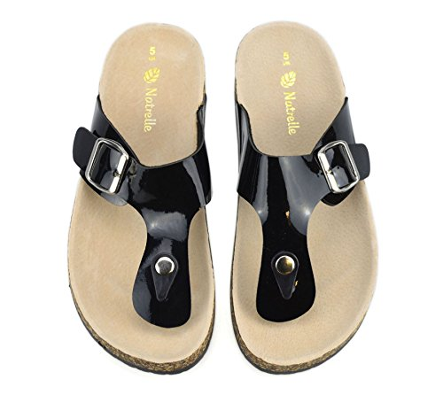 Womens Leather Insole Flat Toe Post Flip Flops Summer Mules Footbed Sandals Shoes Black QLJOf