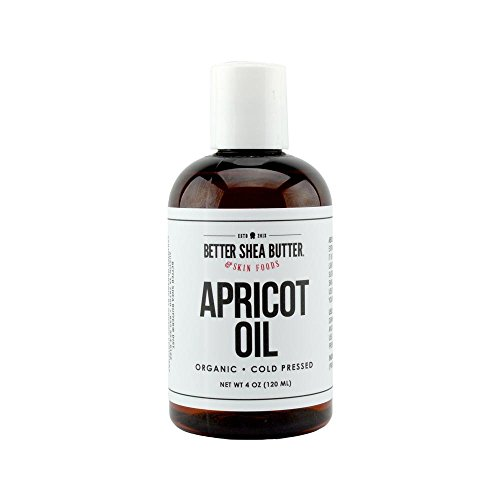 Organic Apricot Kernel Oil, Cold-Pressed, Unrefined, 100% Pure - Moisturize Face and Hair, Use as a Massage Oil or Carrier Oil for Essential Oils - 4 oz - by Better Shea Butter (Jojoba Sweet Butter)