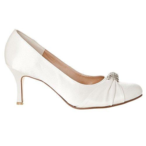 Medium Heel Round Toe Shoe With Diamante Broch Ivory Satin pANXZUN