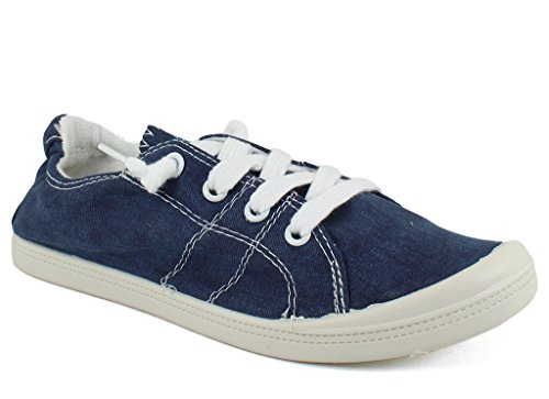 Dunes Sport Women's Reesa Canvas Sneaker, Navy, 7.5 W