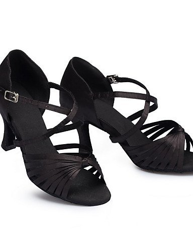 ShangYi Non Customizable Women's Dance Shoes Latin Leather / Patent Leather Cuban Heel Black / Red Black 1cWAshe6v
