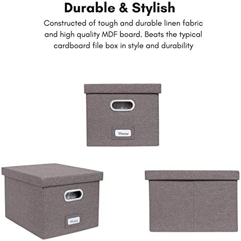 """41E%2BR%2BBdVeL. AC Internet's Best Collapsible File Box Storage Organizer with Lid - Decorative Linen Filing & Storage Office Boxes – Hanging Letter/Legal Folder – Home Office Bins Cabinet – Grey Container - 1 Pack    LINEN FILE ORGANIZER WITH LID: The linen file organizer is the perfect storage box to store all important documents, folders and paperwork while still providing a soft accent to the room/office with its decorative designLETTER or LEGAL FILES: The storage organizer may fit both letter and legal-size files/paperwork fitting your unique filing system.COLLAPSIBLE FILING BOX: The storage container collapses down simply for easier storage when not in usePORTABLE - STACKABLE - VERSATILE: The collapsible storage file bin is equipped with easy access carrying handles and is extremely durable for stacking multiple filing boxes on top of one another. Equipped with a label window for simple organization and may be used for storing toys, closet accessories and other items outside of files.FILE FOLDERS NOT INCLUDED. INCLUDES 1 FILE BOX. DIMENSIONS: Interior Dimensions: 15""""(38.1cm) Width x 12""""(30.5cm) Depth x 10""""(25.4cm) Height; Exterior Dimensions: 16.25"""" Width x 13.25"""" Depth x 10.75"""" Height"""