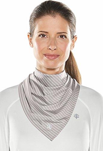 Coolibar UPF 50+ Unisex Performance Sun Bandana - Sun Protective (One Size- Light Grey/White Stripe)
