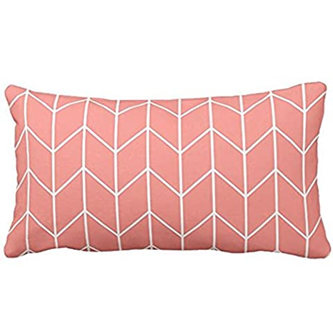Himoud White Chevron on Coral Pink Modern Chic Lumbar Pillowcase Pillow Covers 20 x12 inches