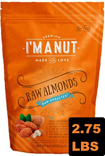 Raw Almonds, 44 oz, STEAM Pasteurized No PPO, 100% Natural, Unsalted, Premium, Great for Cooking, Baking, Blanching, Snacking, and works best for making Butter, Milk, and ()