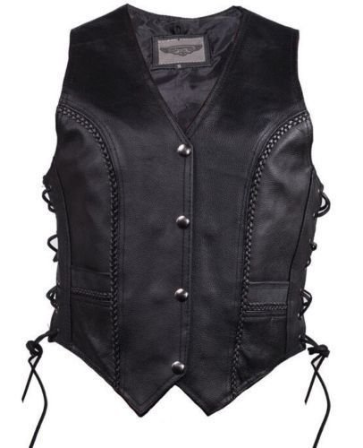 Dealer Women's Motorcycle Biker Classic Braided Side Lace Leather Vest 2 Gun Pockets by Dealer