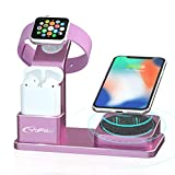YoFeW Charging Stand for Apple Watch Aluminum Watch Charger Stand Charging Station Dock Compatible for Apple Watch Series 4/3 /2/1 AirPods, 10W Wireless Charger Pad for iPhone XS/X/8/8 Plus