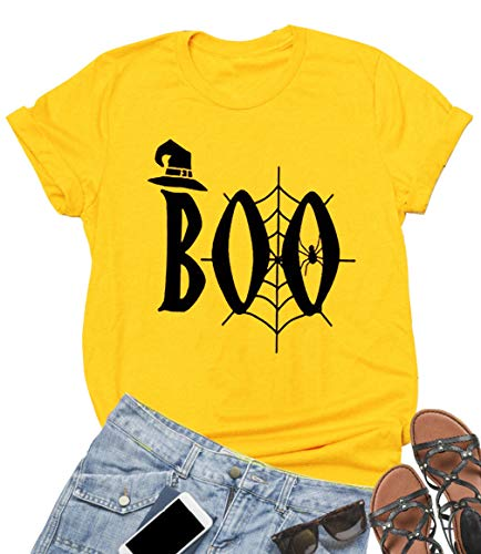 EGELEXY Funny Boo Halloween T Shirt Womens Casual Short Sleeve Spider Web Graphic Tees Witch Hat Costume Shirt Size S (Yellow)