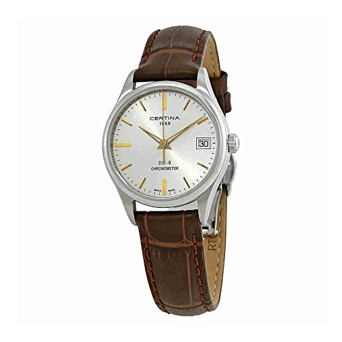 Certina DS 8 Silver Dial Brown Leather Ladies Watch C033.251.16.031.01