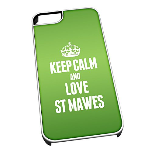 Bianco Cover per iPhone 5/5S Verde 0543 Keep Calm And Love St Mawes