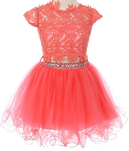 Big Girls Lace Top Tulle Rhinestone Two Pieces Pageant Holiday Party Flower Girl Dress Coral 8 (C50C23C) (Flower Two Piece)