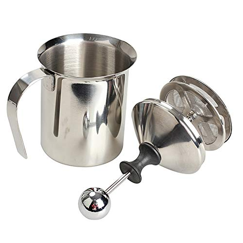 (LDCRE Stainless Steel Milk Jugs Pump Milk Frother Creamer Foam Cappuccino 400ML Coffee Double Mesh Froth Screen Kitchen Tools)