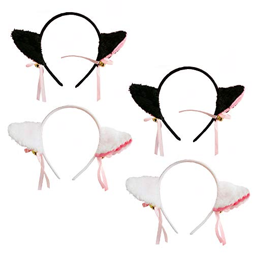 Cat Ears Headband Cat Hair Clip Halloween Kitty Hair Hoops Anime Lolita Women Girls Kids Party Decoration Cosplay Costume Sweet Headpiece Kitten Hair Bands Accessories with Bell 4 Pack Black White -
