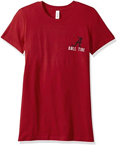 NCAA Alabama Crimson Tide Women's Double Pattern Scroll Favorite Short sleeve T-Shirt, Small,Cardinal