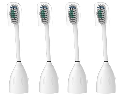 Philips Sonicare E-Series Compatible Replacement Toothbrush Heads with Caps, 4 pack eseries HX7022 HX7001 fits Essence, Xtreme, Elite, Advance and CleanCare
