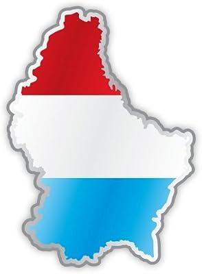 Lussemburgo Luxembourg mappa bandiera etichetta sticker 9cm x 13cm