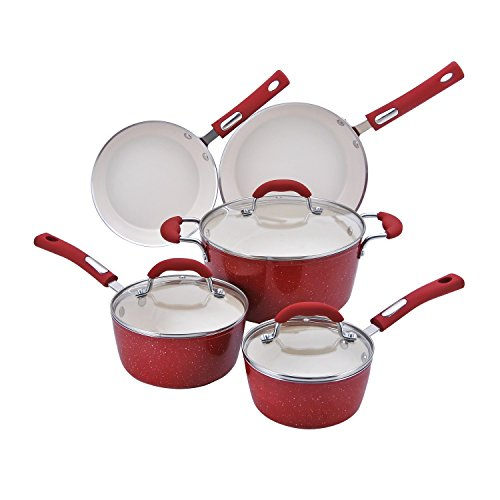 Hamilton Beach 8pc Aluminum Cookware Set, 3.0mm Forged, Red Speckled Procelain Enamel, Cream Ceramic Non-Stick (Hamilton Beach Ceramic Fry Pan compare prices)