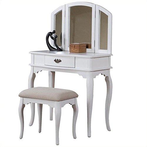 Bobkona Jaden Collection Vanity Set with Stool, White by BOBKONA