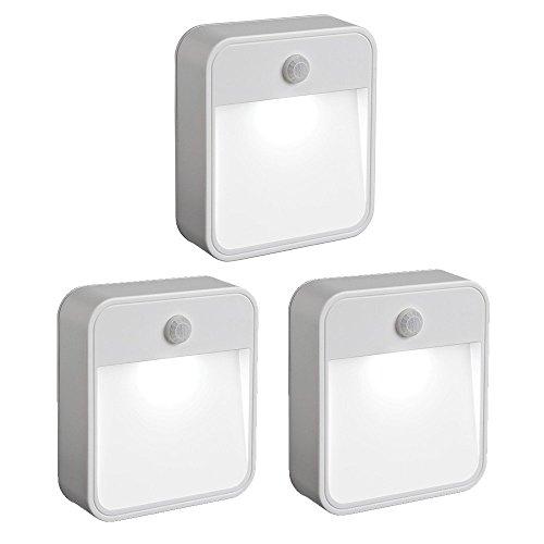Mr. Beams MB 723 MB723 Battery-Powered Motion-Sensing LED Stick-Anywhere Nightlight, 3-Pack, White, 3