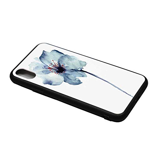 Watercolor Printing Compatible with iPhone X Case,Artistic Design of a Spring Flower with Blue Tones Birth of Life Theme Print Decorative for iPhone X Case,iPhone X