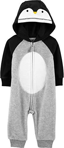 Carter's Baby Boy Hooded Penguin Fleece Jumpsuit/Romper; One Piece 18 Months, Gray ()
