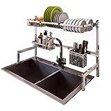 Dish Drying Rack Over Sink Display Stand Drainer Stainless Steel Kitchen Supplies Storage Shelf Utensils Holder (Silver)