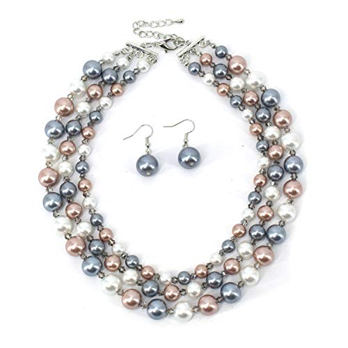 (Utop Simulated Pearl Choker Necklace for Women Bridal Wedding Pearl Statement Necklace (Champagne/Crystal/White))