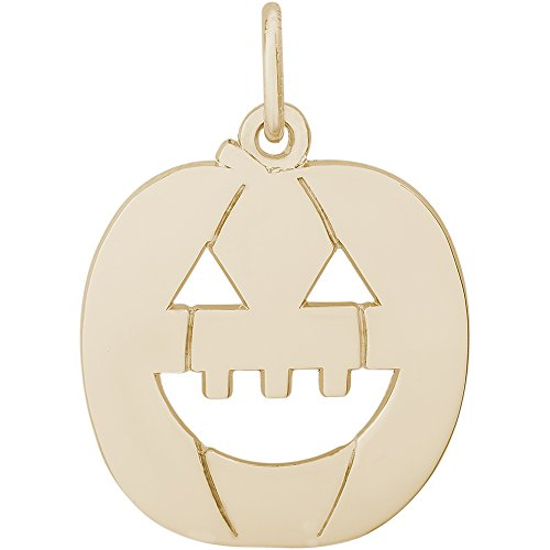 Rembrandt Charms 14K Yellow Gold Jack O Lantern Charm on 14K Yellow Gold Rope Chain Necklace, 20