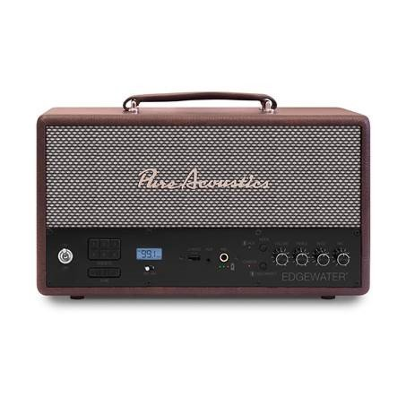 Pure Acoustics Edgewater Stereo Speaker | Portable Wireless Bluetooth | 10 Hour Battery Life | Digital Display, Durable Design, Incredible Sound | 1Amp Charging Port for Rapid Phone Charge | BROWN