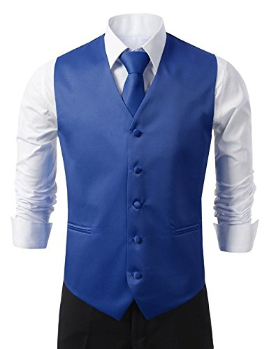 Brand Q 3pc Men's Tuxedo Vest,Neck Tie,Pocket Square Set for
