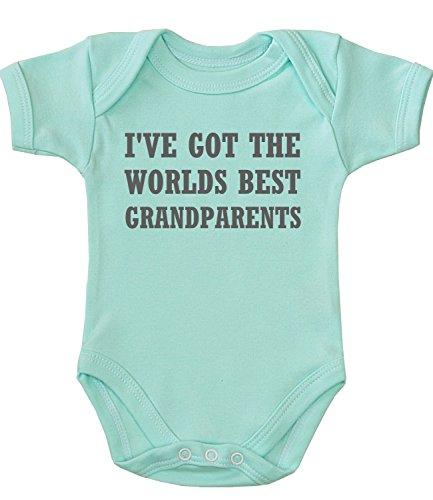 BabyPrem Baby Bodysuit World's Best Grandparents Newborn - 12 Months AQUA NB