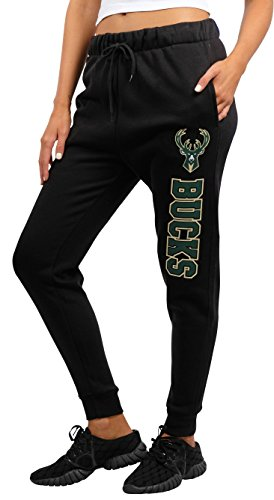 fan products of NBA Women's Milwaukee Bucks Jogger Pants Active Basic Fleece Sweatpants, Large, Black