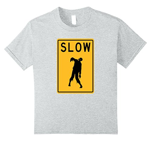 Supernatural Costume Demon (Kids Slow Zombie Yellow Traffic Sign Novelty Pun T-Shirt Funny 8 Heather)