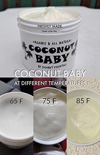 Coconut Baby Oil Organic Moisturizer - All Natural - Vitamin E Oil for Hair and Skin Care - Massage - Sensitive Skin, Diaper Rash Guard - Chemical Free - 2 fl oz