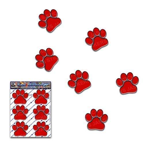Stampe della zampa rosso cani gatti animali piccoli pacchi Adesivi per auto ST00002RD/_SML Adesivi JAS