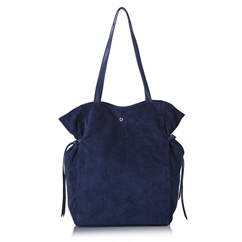The Lovely Tote Co. Women's Strap Suede Bag Side Ties Top Handle Tote Navy