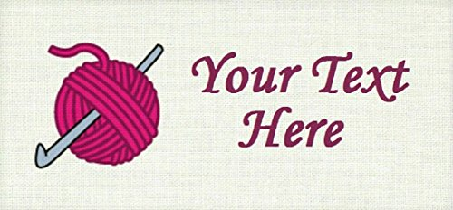 Crochet Hook with Yarn – Cotton Fabric Labels for Handmade Items / Customized Garment Clothing Size Fabric Labels / Personalized Printed Fabric Sew Tag Labels / Quilt, Crochet, Knit, Sewing
