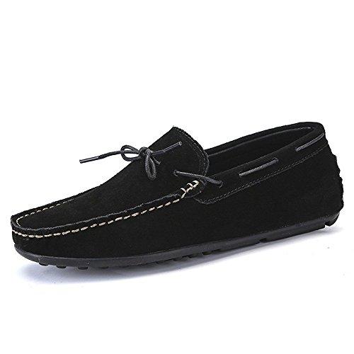 gomma 2018 scamosciata guida Nero Shufang Dimensione Mocassini con uomo Mocassini In shoes 43 Scarpe in pelle Mocassini scamosciata in bottoni vera Uomo EU per pelle da Da Color n8BXn
