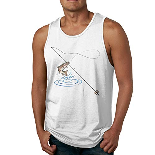 - Fancy Illusion Fishing Lure Men's Fitted Bodybuilding T-Shirt Gym Workout Tank Top for Men White