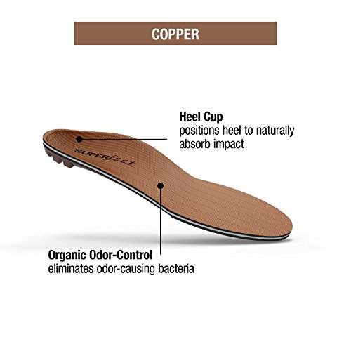 Superfeet COPPER, Memory Foam Comfort Orthotic Insoles, Unisex, Copper, Small/6.5-8 Wmns/5.5-7 Mens by Superfeet (Image #5)