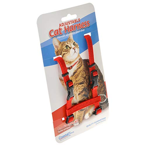 Tuff Collar Nylon Adjustable Cat Harness - Red Girth Size 10-18 (8 Pack) by Tuff Collar