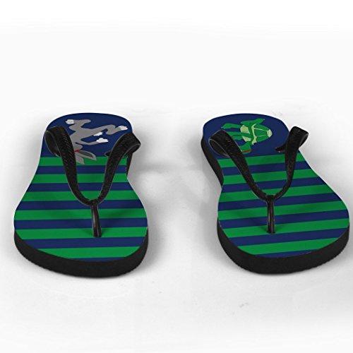 Rinnande Flip Flops Sköldpadda Och Hare Grönt