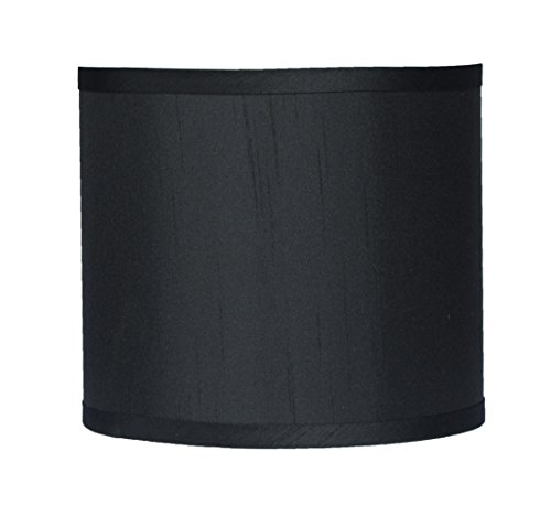 Urbanest Faux Silk Drum Lampshade, 8-inch By 8-inch By 7-inch, Black, Spider Fitter