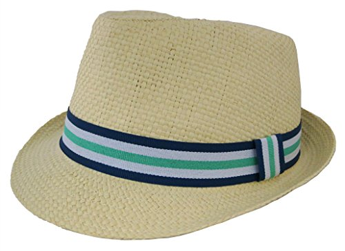 Rising Star Straw With Stripe Band In Blue Fedora Hat - Toddler