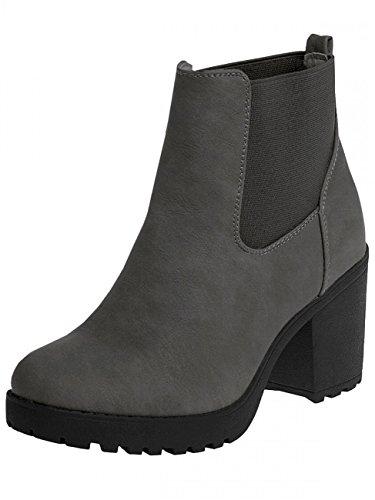 CASPAR SBO045 Womens Vintage Platform Ankle Boots Grey