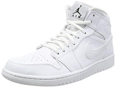 Jordan Nike Men's Air 1 MID White 554724-110 (Size: 8)