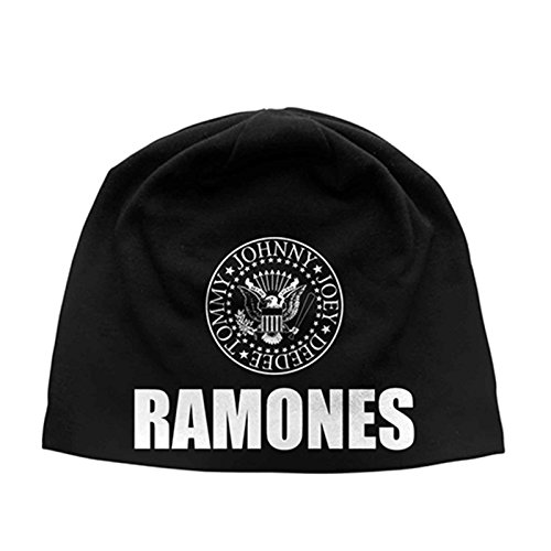 Ramones Beanie Hat Presidential Seal Band Logo Official Black Jersey Print